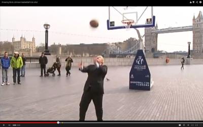 Boris Johnson makes his shot on April 8 (YouTube Screen Shot)