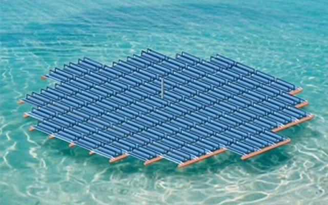 A floating solar energy panel developed by Solaris Synergy. (photo credit: Solaris Synergy/JTA)