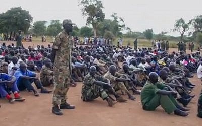 Members of the Sudanese rebel group Sudan People's Liberation Army-North undergo training. (photo credit: image capture YouTube)