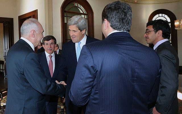 US Secretary of State John Kerry, center, and members of the Friends of Syria group are seen during a meeting in Istanbul, Turkey, Saturday, April 20, 2013 (photo credit: AP/Hakan Goktepe)