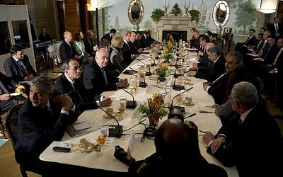 Arab League leaders meeting with US officials at Blair House in Washington on Monday. (photo credit: AP/Manuel Balce Ceneta)