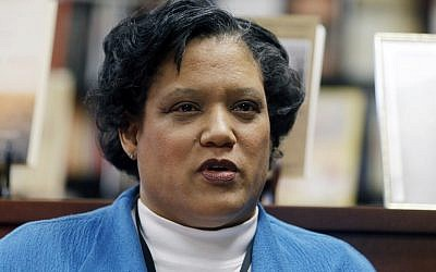 Albany Public Schools Superintendent Marguerite Vanden Wyngaard speaks about a Nazi-themed assignment given to students during a news conference on Friday, April 12, 2013, in Albany, N.Y. (photo credit: AP/Mike Groll)