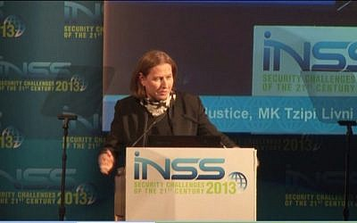 Tzipli Livni speaks Tuesday. (photo credit: screen capture/INSS)
