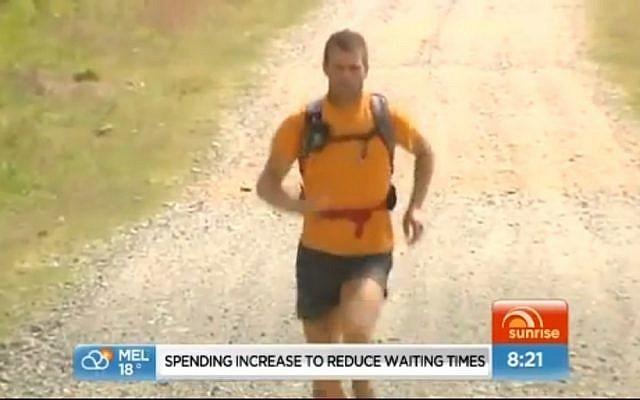 Richard Bowles runs across Australia, 2012 (photo credit: screen capture SunriseOn7/Youtube)