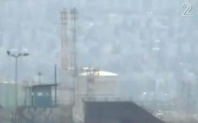 Haifa's ammonia tank (screen capture/Channel 2)