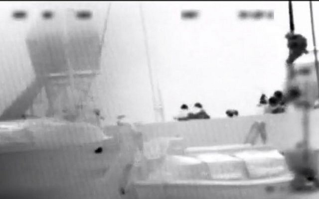IDF commandos board the Mavi Marmara, 2010, to prevent it sailing to Gaza (photo credit: Youtube screen capture)