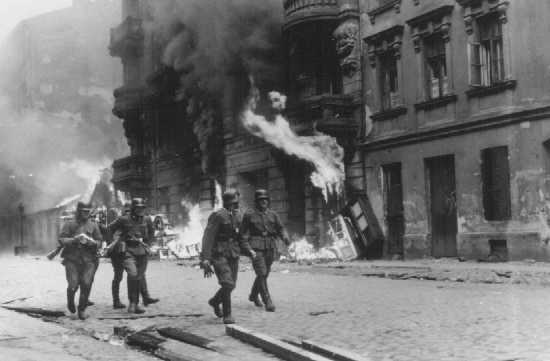 In the heat of battle during the Warsaw Ghetto Uprising. Many of the children in the film would go on to participate in the uprising years later. (Courtesy of the USHMM)