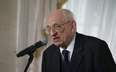 Polish politician and historian Wladyslaw Bartoszewski (photo credit: CC BY, by Bronisław Komorowski, Wikimedia Commons)