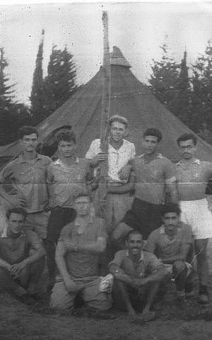 A Palmach soccer team, around 1946. Isaac is standing, far right (Courtesy of Isaac Shushan)