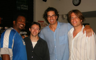 (From left) Comics Craig Robinson, Avi Liberman, Gary Gulman and Dwight Slade during the 2007 Comedy for Koby tour (Courtesy Avi Liberman)