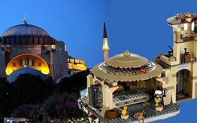 The Hagia Sophia basilica-turned-mosque, today a museum, contrasted with the Jabba's Palace Star Wars toy made by Lego. (left photo credit: Yossi Zamir/Flash90, right photo credt: Lego)