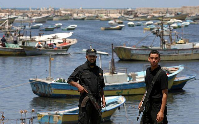 Illustrative: Hamas operatives patrol the port in Gaza city, June 12, 2008 (photo credit: Wissam Nassar/Flash90)