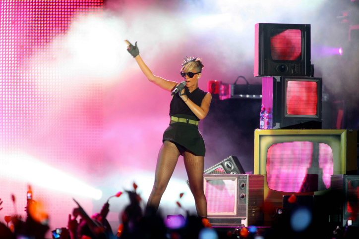 Rihanna performs in Tel Aviv as part of her 'Last Girl on Earth' tour, May 2010. (photo credit: Flash90)