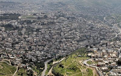 A bird's eye view of the Arab neighborhood of Silwan in East Jerusalem (photo credit: Nati Shohat/Flash90)