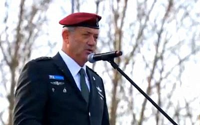 IDF Chief of Staff Benny Gantz addresses the March of the Living on Monday (photo credit: screen capture)