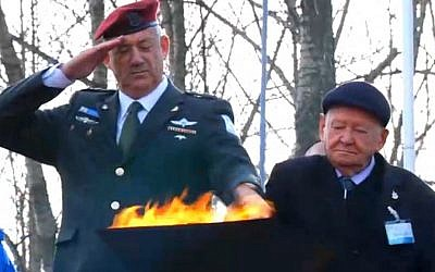 IDF Chief of General Staff Lt. Gen. Benny Gantz lights a torch at the March of the Living, Monday (photo credit: screen capture)