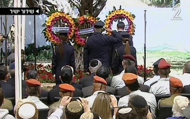 The wreath-laying memorial ceremony at Mount Herzl Monday. (Screenshot: Channel 2)