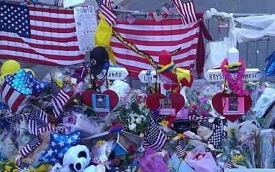 Memorial for victims of the Boston Marathon attack. (photo credit: Matt Lebovic/Times of Israel)