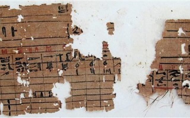 Image of hieroglyphic papyrus discovered at Wadi el-Jarf, Thursday, April 11, 2013 (photo credit: AP Photo/Egypt's Supreme Council Of Antiquities)