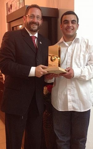 MK Dov Lipman with Bible Quiz winner Elior Babian (photo: Courtesy)
