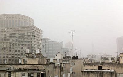 A thick haze hanging over Tel Aviv (photo credit: Times of Israel Staff)