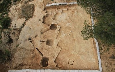 The newly discovered ritual bath, or mikveh, included three collecting basins carved into the roof (photo credit: Courtesy of the Israel Antiquities Authority)