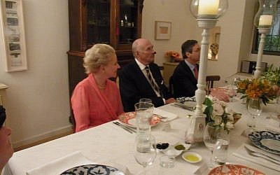 Prince Dimitri Romanov (center) and his wife, Princess Dorrit, in Jerusalem last week. On the right is former ambassador Danny Ayalon. (photo credit: Courtesy of Hila Solomon/Spoons)