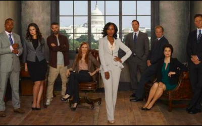 Kerry Washington, the star of political thriller 'Scandal' and the cast (Courtesy 'Scandal' Facebook page)
