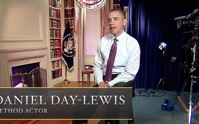 President Obama plays Daniel Day-Lewis playing President Obama in Steven Spielberg's 'Obama.' (photo credit: YouTube screenshot)
