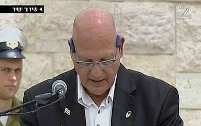 Terror victim representative Pozis-Shahak speaking on Mount Herzl Monday. (Screenshot: Channel 2)