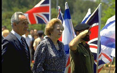 Shimon Peres and Margaret Thatcher, undated (photo credit: Yaakov Saar/GPO)