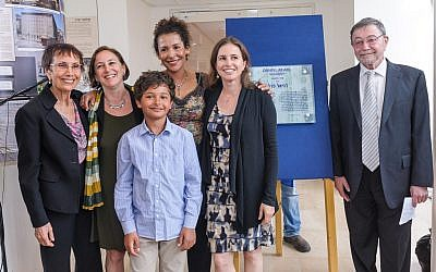 The Pearl family -- Judea (right), Michelle, Mariane, Adam, Tamara, and Ruth, at Wednesday's Herzliya ceremony. (photo credit: Yotam From)