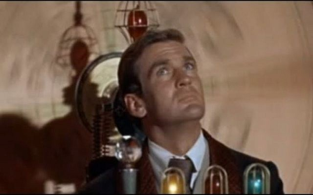 Actor Rod Taylor in the 1960 movie adaptation of 'The Time Machine,' H.G. Wells' classic 1895 science fiction novel. (photo credit: YouTube screen capture)