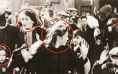 The faces not shown in a Haredi publication (illustrative image, from detail of the famous photo from Jürgen Stroop's report to Heinrich Himmler from May 1943)