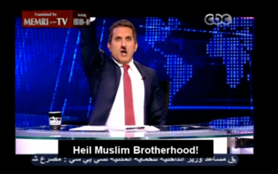 Bassem Youssef mocking the Muslim Brotherhood after comparing them to the Nazis (screenshot: MEMRI)