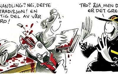 The anti-Semitic cartoon published in Norway's Dagbladet, Tuesday (photo credit: screen capture/Dagbladet.no)