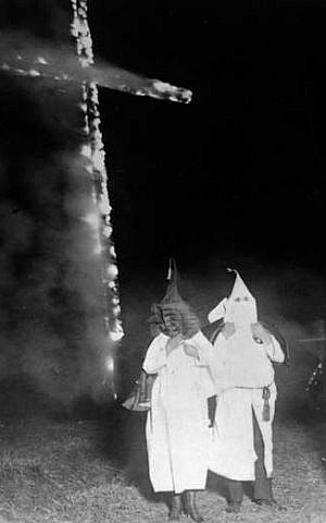 Early Klan cross burning. (photo credit: public domain)