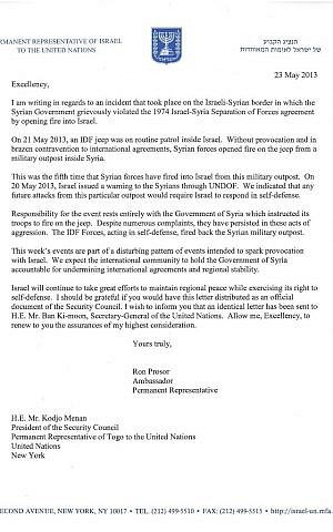 Israeli Ambassador to the United Nations Ron Prosor's letter of protest to the Security Council, from May 23, 2013.