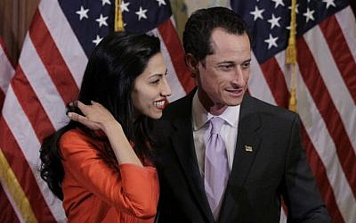Former rep. Anthony Weiner, D-N.Y., and his wife, Huma Abedin are pictured after a ceremonial swearing in of the 112th Congress on Capitol Hill in Washington, January 5, 2011. (AP Photo/Charles Dharapak)