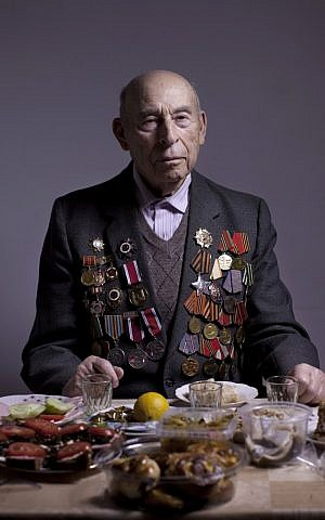 Soviet Jewish World War Two veteran Boris Ginsburg joined partisans for two years and in 1944 he joined the Red Army as a combat soldier and fought till the and of the war. (photo credit: AP/Oded Balilty)