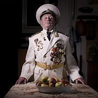 Soviet Jewish World War Two veteran Yaakov Vilkovich, 90, Thursday, April 11, 2013. Vilkovich joined the Red Army in 1941 and fought in the Battle of Berlin in 1945. (photo credit: AP/Oded Balilty)
