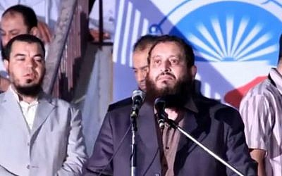 Emad Abdel-Ghafour speaks at a rally, 2011. (photo credit: screen capture/YouTube)