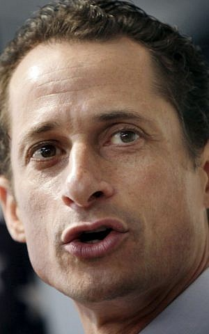 This June 16, 2011 file photo shows Anthony Weiner speaking to the media during a news conference in New York. (photo credit: AP Photo/Seth Wenig,File)