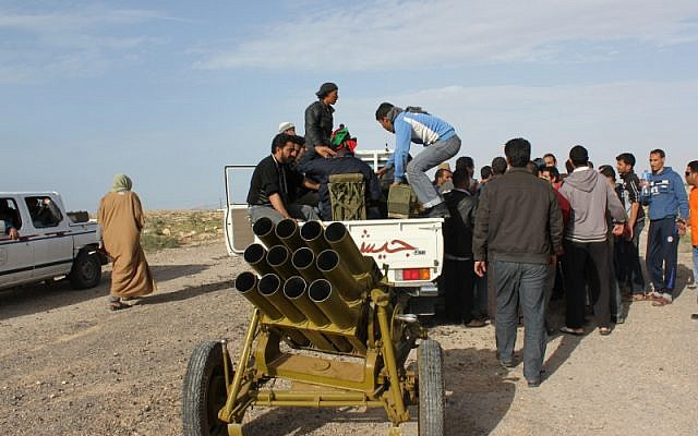 Illustrative photo of a Type 63 rocket launcher in use by Libyan rebels in 2011. (photo credit: CC BY-SA Al Jazeera English, Flickr)