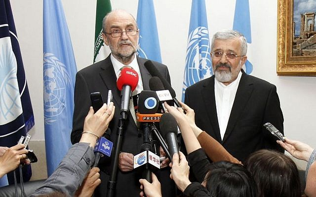 Herman Nackaerts, deputy director general of the IAEA, left, and Iran's former Ambassador to the international atomic agency, Ali Asghar Soltanieh, speak to media after their talks at the permanent mission of Iran in Vienna in May (photo credit: AP/Ronald Zak)