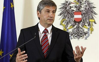 Austrian Foreign Minister Michael Spindelegger (photo credit: AP Photo/Ronald Zak, File)