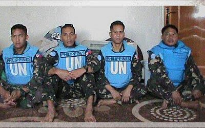 A photo of  Filipino UN peacekeepers kidnapped from their Golan outpost by the Yarmouk Martyrs Brigade in May 2013 (photo credit: Yarmouk Martyrs Brigade/Facebook)