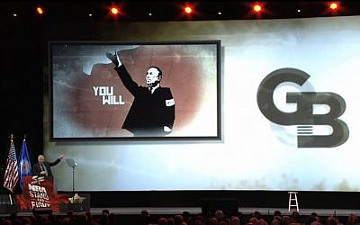 Glenn Beck speaks at the NRA convention, May 2013. (screen capture: Youtube/NRAVideos)