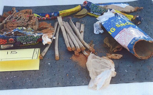 This photo released May 1, 2013 by the US Attorney's office in a federal criminal complaint, shows fireworks, which the complaint said federal agents recovered from inside a backpack belonging to Boston Marathon bombing suspect Dzhokhar Tsarnaeva, found in a landfill in New Bedford, Mass. (photo credit: AP Photo/U.S. Attorney's Office)