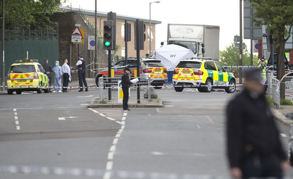 A tent is erected near the scene of an attack in Woolwich southeast London Wednesday, May, 22, 2013 (photo credit: AP/Alastair Grant)